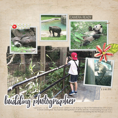 National Zoo: Budding Photographer digital scrapbook page