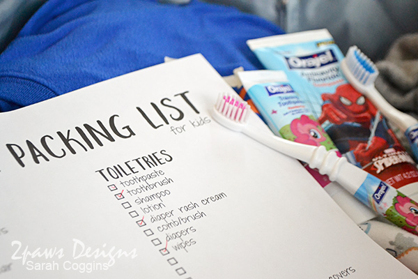 Travel with Kids Packing List detail