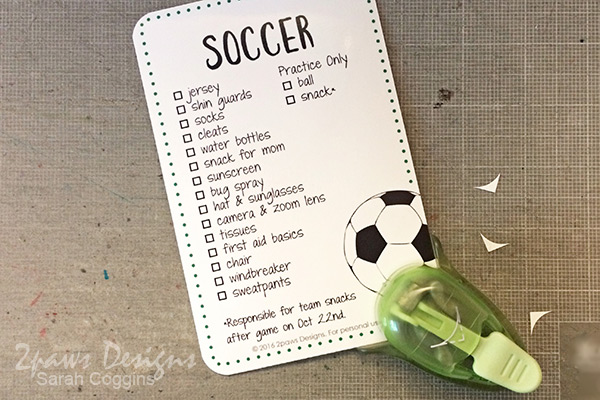 Soccer List Printable: Punch Corners