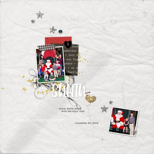 Santa 2016 digital scrapbooking page