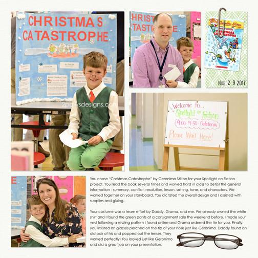 Spotlight on Fiction digital scrapbook page