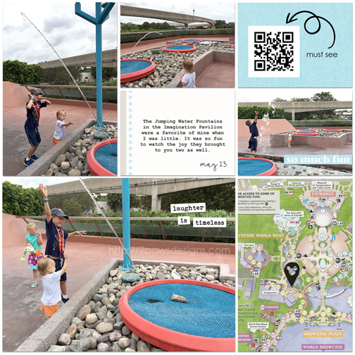 EPCOT: Jumping Water Fountains digital scrapbook page