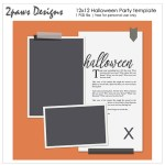 2paws Designs: Halloween Party 12x12 template preview