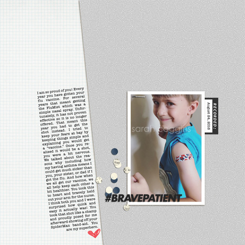 Brave Patient: Annual Flu Shot digital scrapbook page