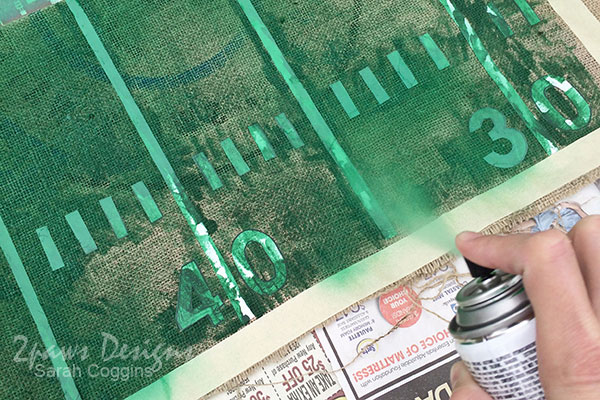 DIY Football Table Runner: Spray Paint