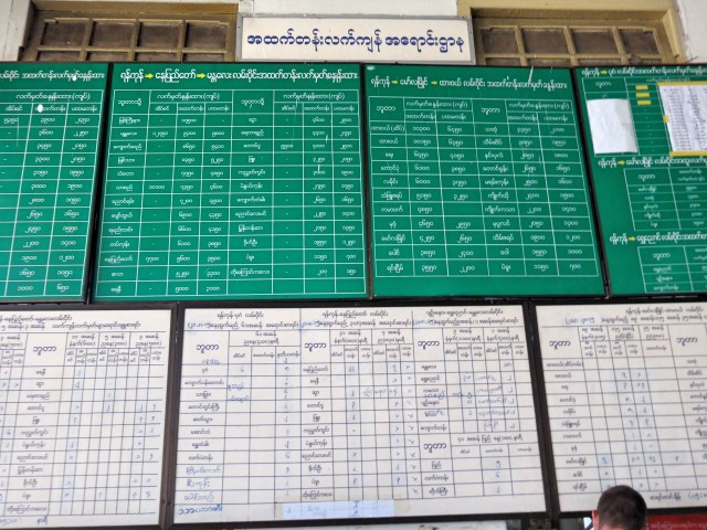 Train timetables at the Yangon train station.