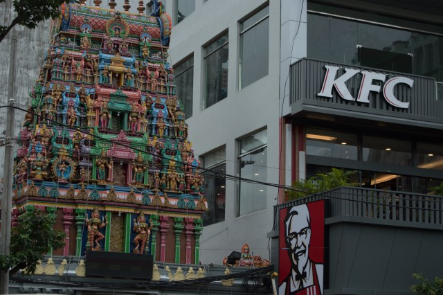 The first and only KFC in Myanmar. It's two levels and next to a Hindu Temple.