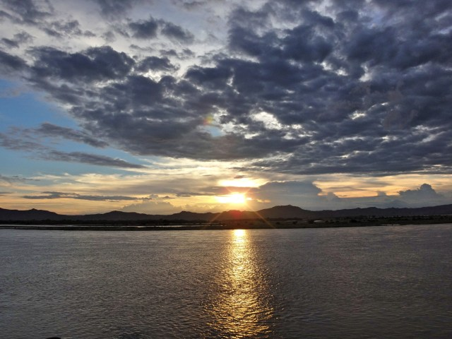 Sunset over Ayeyarwaddy River.