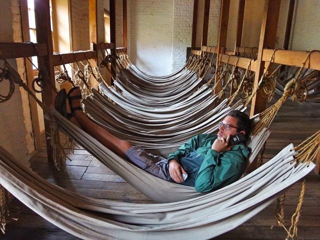 Chillin' in the hammocks of the barracks.