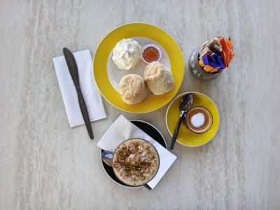Honey, scones, and coffee.