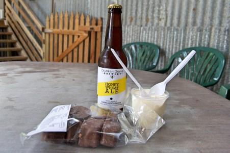 Honey ice cream, ale, and chocolate covered honeycomb.
