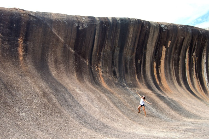 "Obligatory ""pretending to surf"" photo on Wave Rock."
