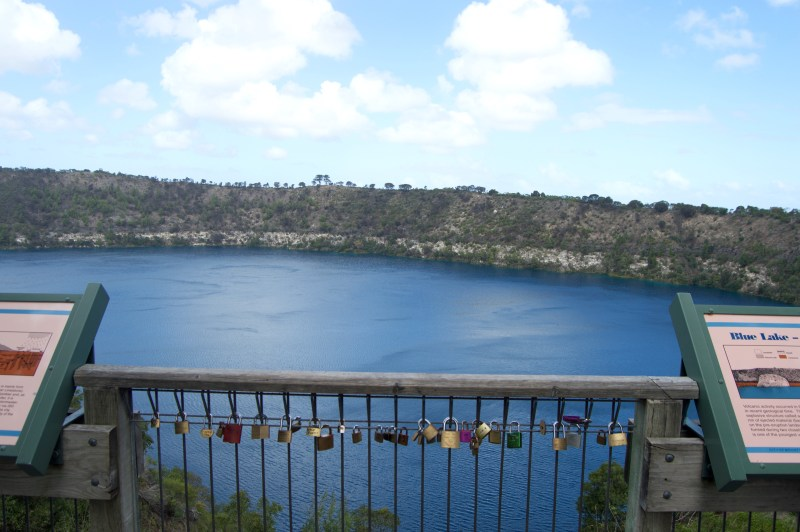 Love locks atop Blue Lake in Mount Gambier.