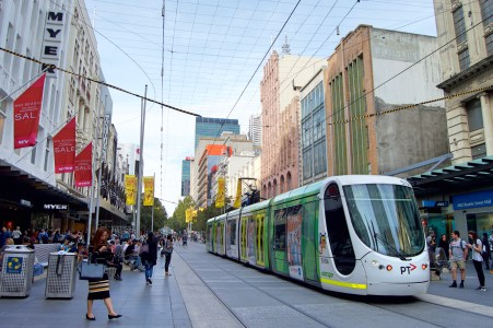 Trams on Bourke Street.