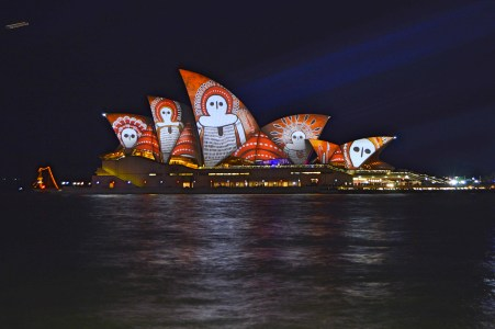 The Opera House up in lights.