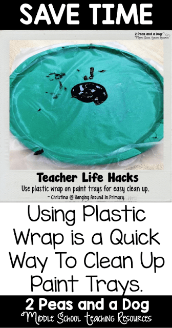 Art teachers use plastic wrap in your classroom to make the cleanup process faster.