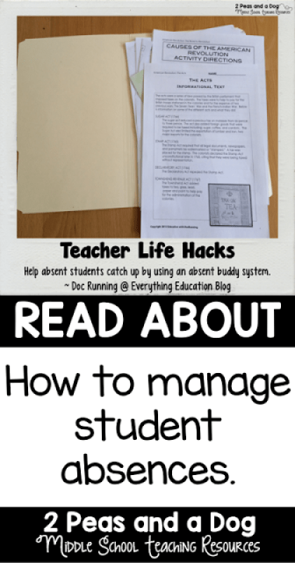 Manage student absences with the absent buddy system. A great classroom management idea.