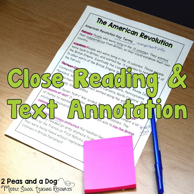 Teaching ideas for helping students understand effective close reading and text annotations from the 2 Peas and a Dog blog.