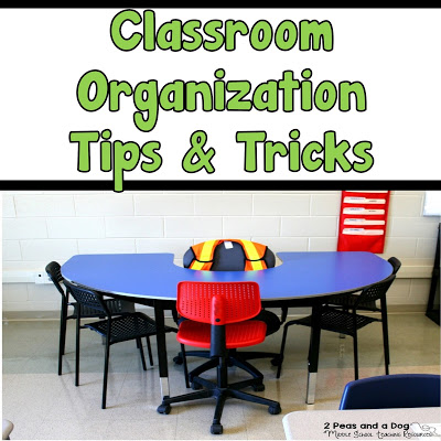 The simple and easy classroom organization ideas explained in this blog post can be implemented at any time in your classroom. Don't wait until next back to school season to make your classroom space more efficiently used, start TODAY! From the 2 Peas and a Dog blog.