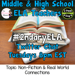 #2ndaryELA Twitter Chat on Tuesday 8/29 Topic: Nonfiction and Real World Connections