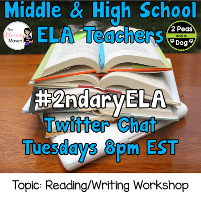 Join secondary English Language Arts teachers Tuesday evenings at 8 pm EST on Twitter. This week's chat will be about reading and writing workshop.