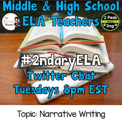 Join secondary English Language Arts teachers Tuesday evenings at 8 pm EST on Twitter. This week's chat will be about narrative writing.