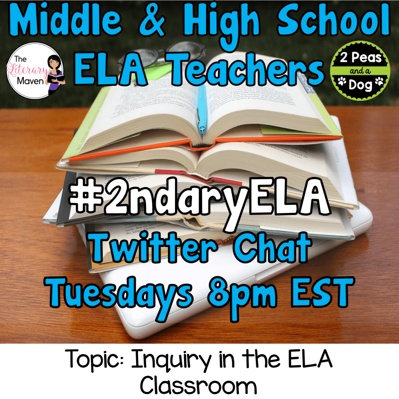 Join secondary English Language Arts teachers Tuesday evenings at 8 pm EST on Twitter. This week's chat will be about inquiry in the ELA classroom.