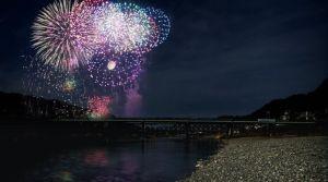 Yoshino River Matsuri NOHRYO Fireworks Festival/ Nara @ Okawahashi riverbed   Gojō-shi   Nara-ken   Japan