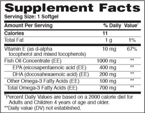 Omega-3 Highly Purified Premium Fish Oil 1000mg 60 Softgels Supplement Facts