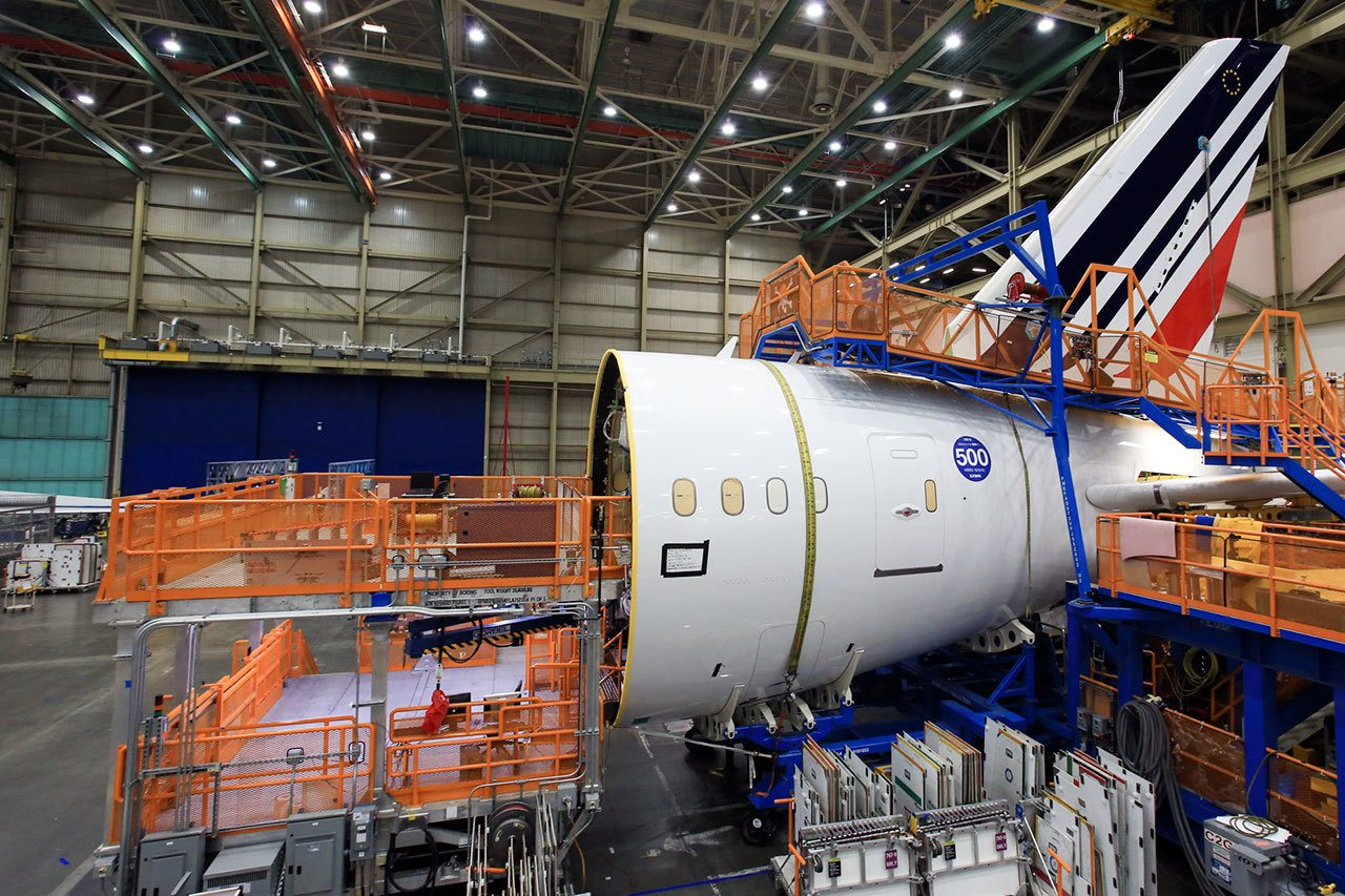 The tail section of the 500th Boeing 787 Dreamliner at the assembly plant in Everett on September 21. (Kevin Clark / The Herald)
