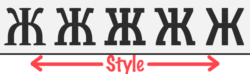 """Illustration from the Slovic font's letterforms morphing with various values of the """" style"""" adjustable font axis"""