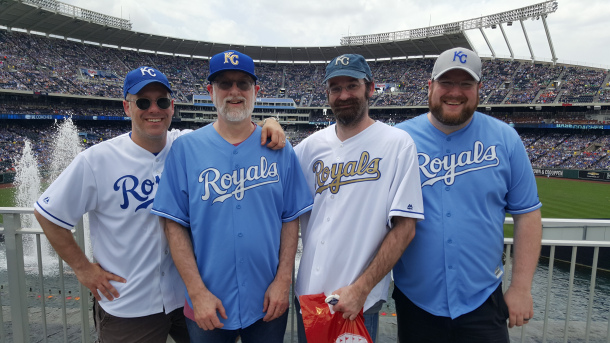 Mike, left, me, Joe and Tom at Kaufmann Stadium in June.