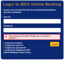 how to reset bdo online banking account when it s locked send