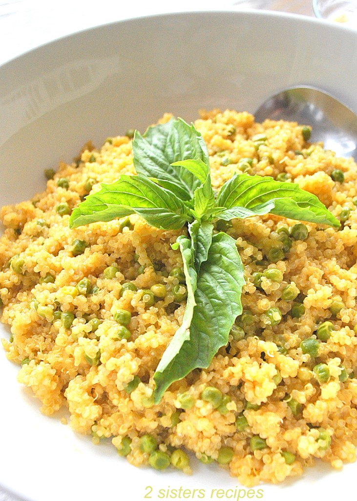 Quinoa with Baby Peas by 2sistersrecipes.com