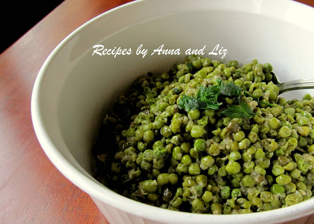 Sweet Baby Peas with Onions and Capers by 2sistersrecipes.com