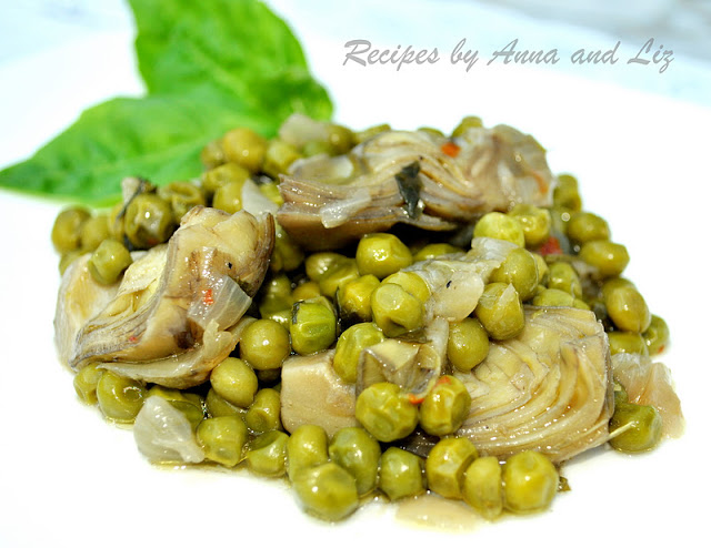 Artichoke Hearts Sauteed with Baby Peas, Onions and Capers by 2sistersrecipes.com