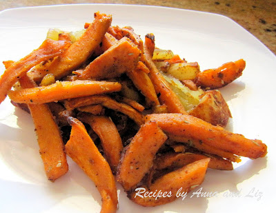 Oven Baked Idaho and Sweet Potato-Cut Fries by 2sistersrecipes.com