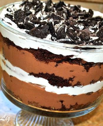 Triple Chocolate Trifle Dessert by 2sistersrecipes.com