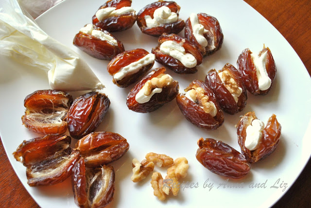 Dates filled with Mascarpone and Walnuts