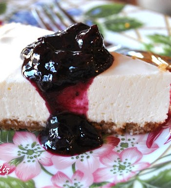 Panna Cotta Cheese Cake with Blueberry Sauce by 2sistersrecipes.com