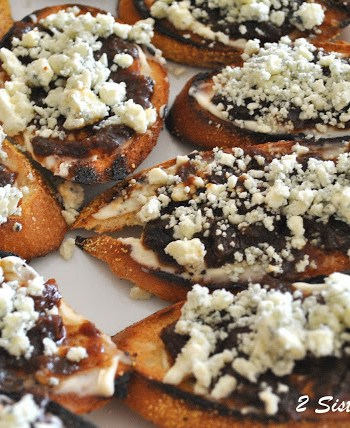 Bruschetta with Fig Jam and Gorgonzola Cheese by 2sistersrecipes.com