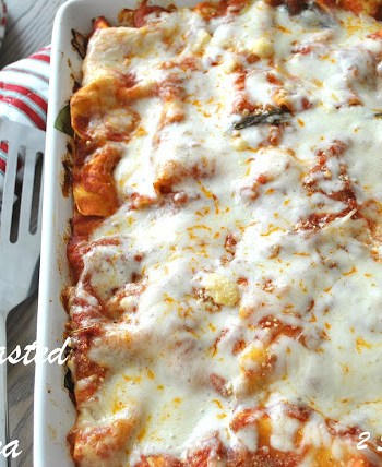 Oven-Roasted Vegetable Lasagna Lightened! by 2sistersrecipes.com