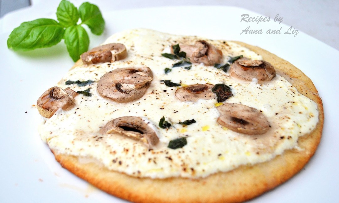 White Pita Pizza with Mushrooms, Ricotta & Herbs by 2sistersrecipes.com