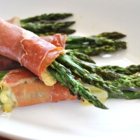 Roasted  Asparagus with Prosciutto and Cheese