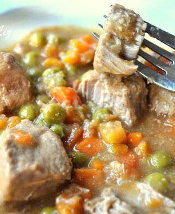 Easy Veal Stew with Wine, Peas and Carrots by 2sistersrecipes.com
