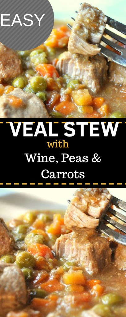 EASY Veal Stew with Wine, Peas & Carrots by 2sistersrecipes.com