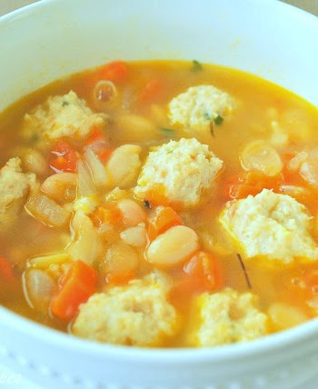White Bean Soup with Mini Meatballs by 2sistersrecipes.com