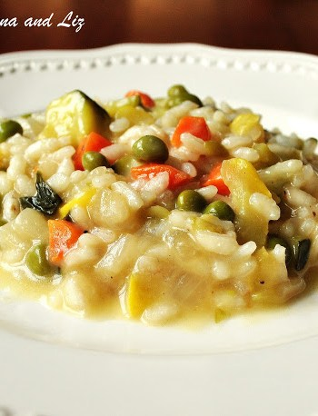 Spring Risotto with Vegetables (Risotto Primavera) by 2sistersrecipes.com