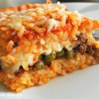 Best Rice Ball Casserole Stuffed with Meat and Peas