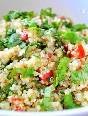 Tomato, Basil, Cucumber, Quinoa Tabbouleh. by 2sistersrecipes.com
